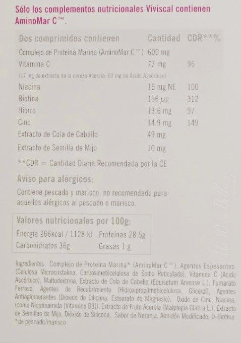 viviscal, máxima fortaleza, comprimidos, ingredientes