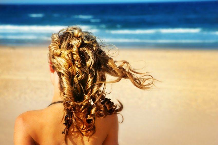 mujer, playa, cabello